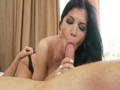 Busty brunette firefighter Angelina V squirts hard on a big-dick